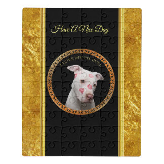 White pitbull with red kisses all over his face. jigsaw puzzle