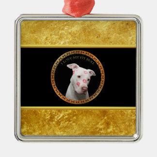 White pitbull with red kisses all over his face. metal ornament
