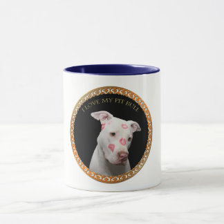 White pitbull with red kisses all over his face. mug