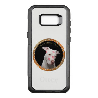 White pitbull with red kisses all over his face. OtterBox commuter samsung galaxy s8+ case