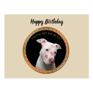 White pitbull with red kisses all over his face. postcard