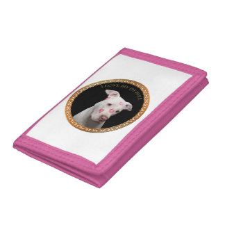White pitbull with red kisses all over his face. tri-fold wallet