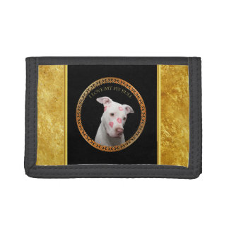 White pitbull with red kisses all over his face. trifold wallet