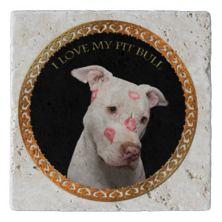 White pitbull with red kisses all over his face. trivet