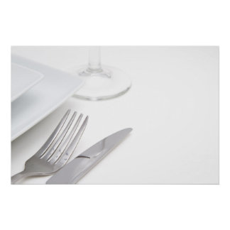 White place setting poster
