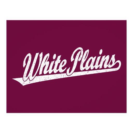White Plains script logo in white distressed Full Color Flyer