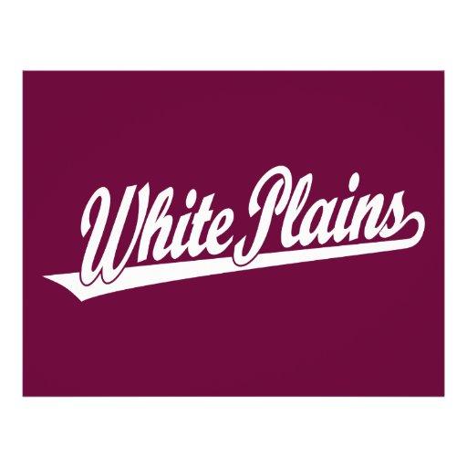 White Plains script logo in white Full Color Flyer