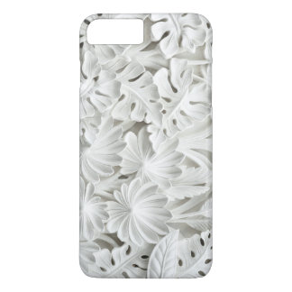 White Plaster Floral Relief iPhone Case