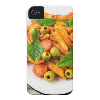 White plate of penne pasta decorated with cherry Case-Mate iPhone 4 cases