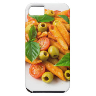White plate of penne pasta decorated with cherry iPhone 5 cases