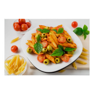White plate of penne pasta decorated with cherry poster