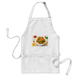White plate of penne pasta decorated with cherry standard apron