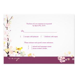 White + Plum Sakura Bird Wedding RSVP 3 5x5 Invitations