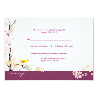 White + Plum Sakura Bird Wedding RSVP Card