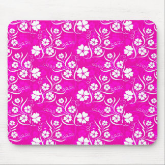 White Plumeria and Vines on Hot Pink Mouse Pad