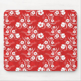White Plumeria and Vines on Red Mouse Pad