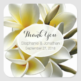 White Plumeria Custom Wedding Favor Labels Square Sticker