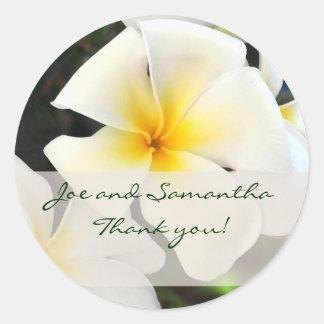 White Plumeria Flower Thank You Sticker