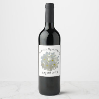 White Plumeria Flower Wine Label