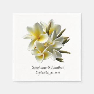 White Plumeria Flowers Tropical Wedding Napkin