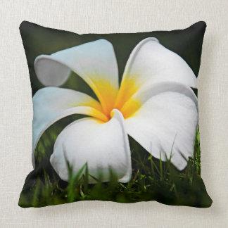 White Plumeria Frangipani Hawaii Flower Throw Pillow