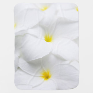 White Plumeria Frangipani Hawaiian Tropical Flower Receiving Blanket