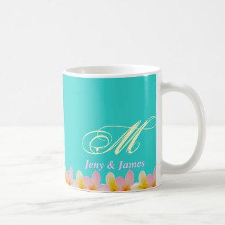White Plumeria Wedding Monogram Mug Gifts Favor