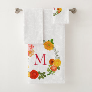 White Plush Damask And Floral Wreath Bath Towel Set