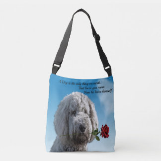 White poddle dog puppy with a red rose Dog Quote Crossbody Bag