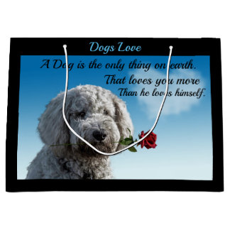 White poddle dog puppy with a red rose Dog Quote Large Gift Bag