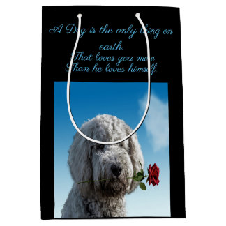 White poddle dog puppy with a red rose Dog Quote Medium Gift Bag