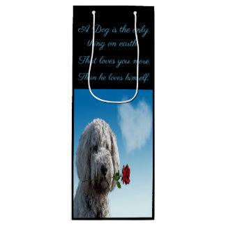 White poddle dog puppy with a red rose Dog Quote Wine Gift Bag