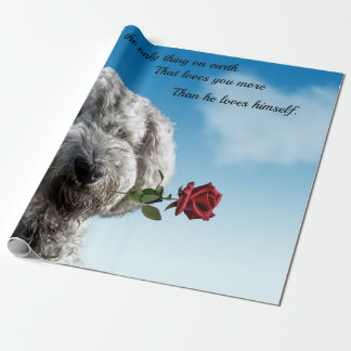 White poddle dog puppy with a red rose Dog Quote Wrapping Paper
