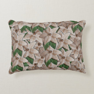 White Poinsettia Flowers Decorative Pillow