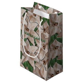 White Poinsettia Flowers Small Gift Bag