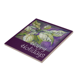 White Poinsettia Holiday Fine Art Tile