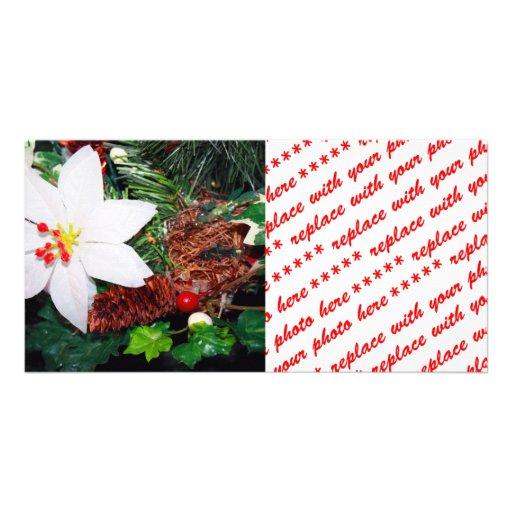 White Poinsettia Photo Card Template