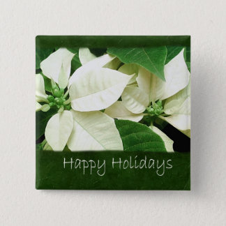 White Poinsettias 1 - Happy Holidays 2 Inch Square Button