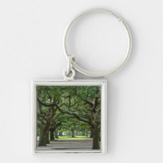 White Point Gardens Painterly Silver-Colored Square Keychain
