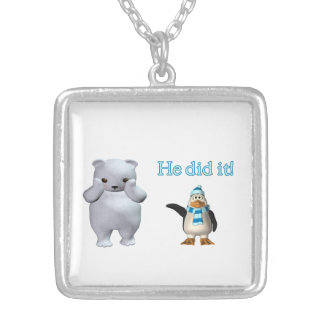 White Polar Bear and Bad Penguin Silver Plated Necklace