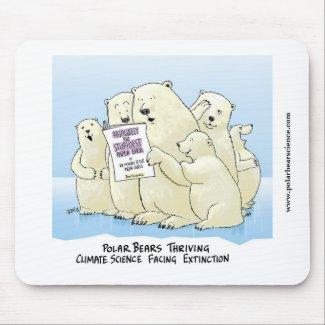 White Polar Bear Climate Science cartoon mouse pad