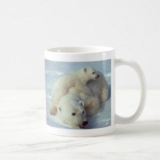 White Polar Bear family Coffee Mugs