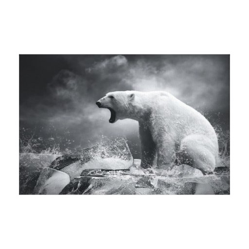White Polar Bear Hunter on the Ice in water Canvas Prints