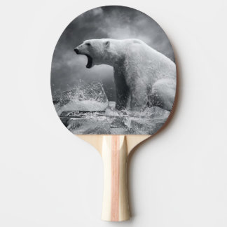 White Polar Bear Hunter on the Ice in water Ping Pong Paddle