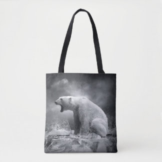 White Polar Bear Hunter on the Ice in water Tote Bag