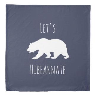 White Polar Bear Let's Hibearnate & Stripes Duvet Cover