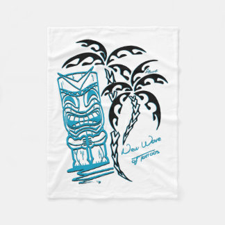 White polar cover palm trees tiki fleece blanket