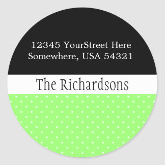 White Polka Dot Address Label Round Sticker