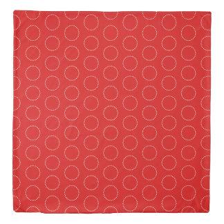 White Polka Dot Circles on Summer Red and Blue Duvet Cover