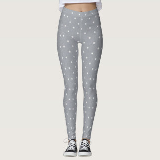 White polka dot pattern grey leggings for women